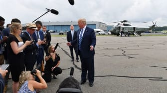 Trump meets the press aboard Air Force One