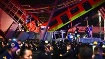 Mexico City metro rail overpass collapses