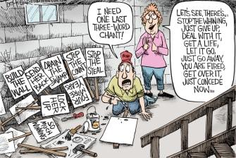 Political Cartoon U.S. Trump supporter election loss