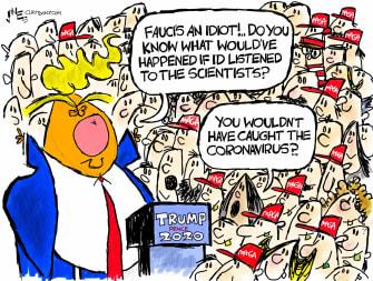 Political Cartoon U.S. Trump Fauci COVID