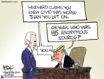 Political Cartoon U.S. Trump Woodward COVID