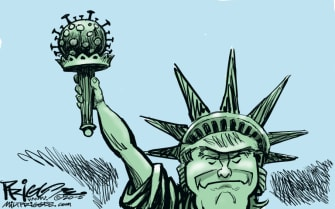 Political Cartoon U.S. Trump Statue of Liberty coronavirus
