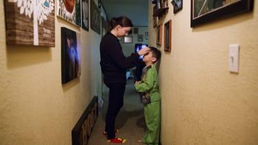 Lydia Holt, left, talks her stepson, Carter, 7, in Wauzeka, Wisconsin on Jan. 17, 2017.
