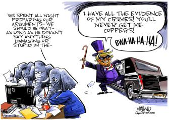 Political Cartoon U.S. Trump impeachment GOP evidence