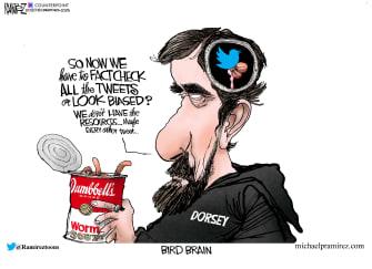 Editorial Cartoon U.S. Twitter Jack Dorsey Trump bias