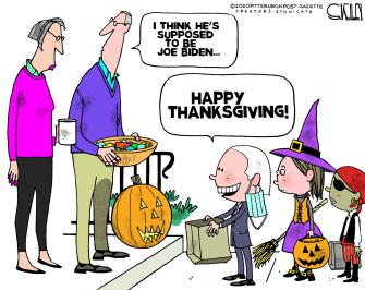 Political Cartoon U.S. Biden Halloween Thanksgiving