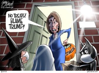 Political Cartoon U.S. Pelosi Trump COVID stimulus