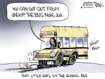 Political Cartoon U.S. Joe Biden Kamala Harris School Bussing Democrats