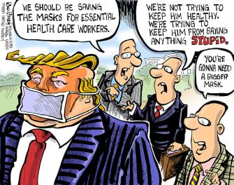 Political Cartoon U.S. Trump coronavirus muzzling masks