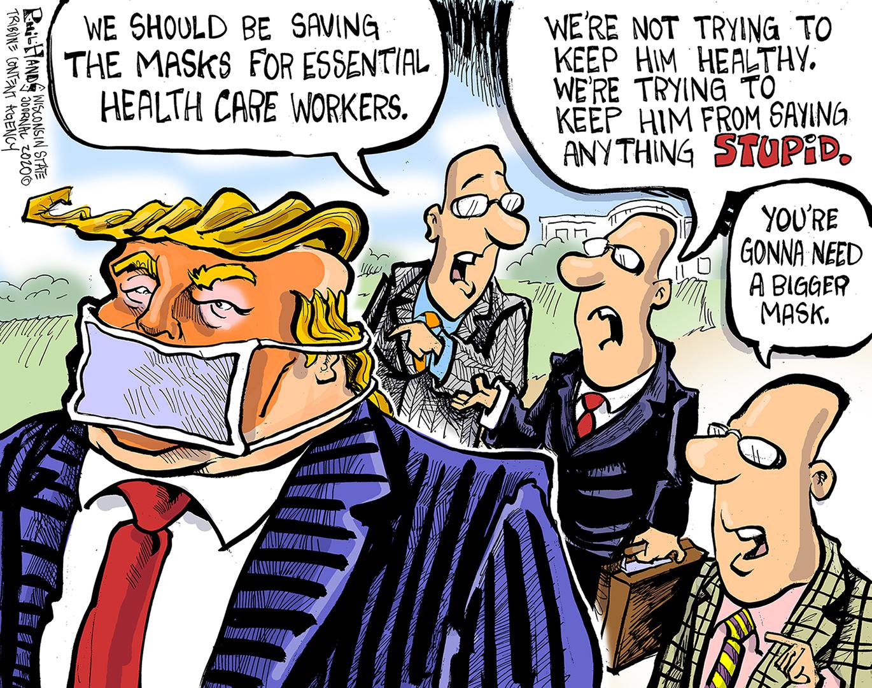 Political Cartoon U.S. Trump coronavirus muzzling masks |         The Week
