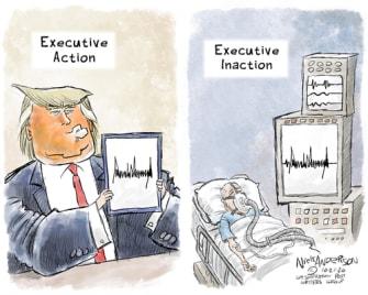Political Cartoon U.S. Trump COVID response