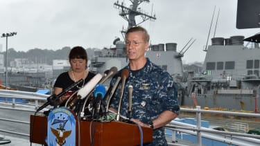 Vice Adm. Joseph Aucoin, Commander of the US 7th Fleet, speaks after the crash of the USS Fitzgerald