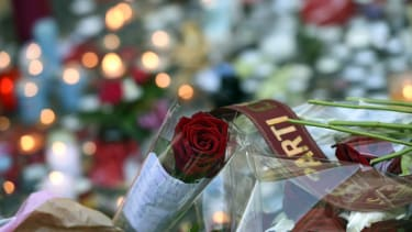 Flowers at a memorial outside the Bataclan concert hall in Paris