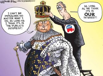Political Cartoon U.S. Trump Mitch McConnell Republicans Senate trial impeachment absolute power kings public interest