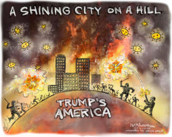 Political Cartoon U.S. Trump Portland federal agents