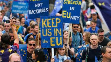 A pro-EU march against the Brexit vote in September 2016.