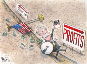 Political Cartoon U.S. John Bolton book profits