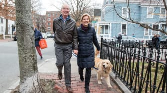 Elizabeth Warren walks her dog