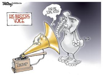 Political Cartoon U.S. Trump GOP votes