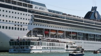 The MSC Opera after it hit a river boat and dock in Venice.
