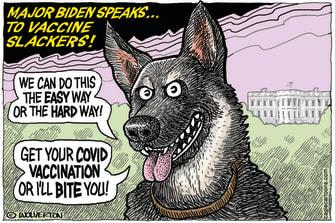 Editorial Cartoon U.S. major biden covid vaccine