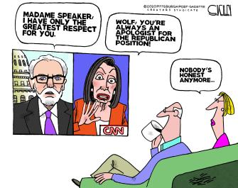 Political Cartoon U.S. Wolf Blitzer Pelosi CNN