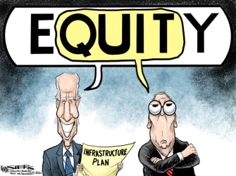 Political Cartoon U.S. biden mcconnell infrastructure equity
