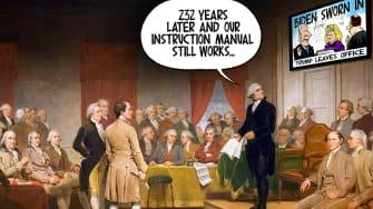 Political Cartoon U.S. founding fathers Biden