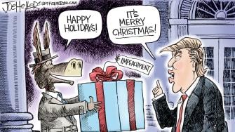 Political Cartoon U.S. Impeachment Happy Holidays