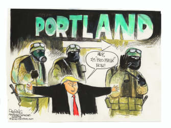 Political Cartoon U.S. Trump Portland military police masks