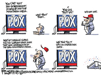 Political Cartoon U.S. Fox viewer lifecycle Fox news calls virus hoax