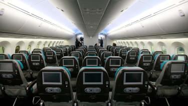 Airplane cabin.