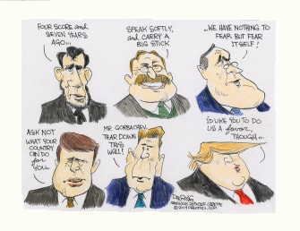 Political Cartoon U.S. Presidential Quotes Trump Do Us A Favor Though