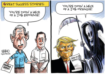 Political Cartoon U.S. Trump coronavirus deaths George W Bush Katrina Brownie