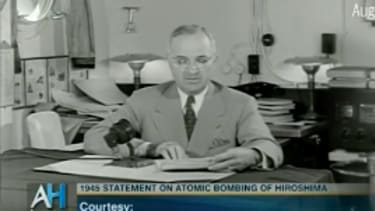 President Harry S. Truman tells Americans about the atomic bomb in 1945.