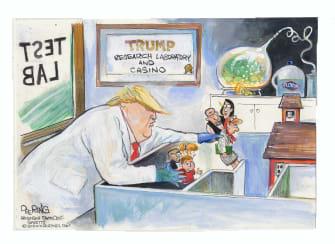 Political Cartoon U.S. Trump children coronavirus schools