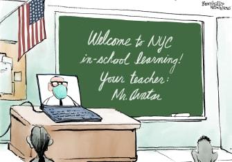 Editorial Cartoon U.S. New York City schools covid
