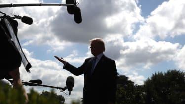 Trump speaking to the media.