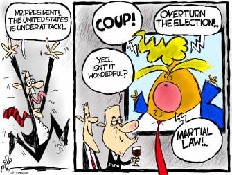 Political Cartoon U.S. Trump Putin Election attack