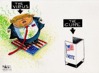 Political Cartoon U.S. Trump election virus 2020