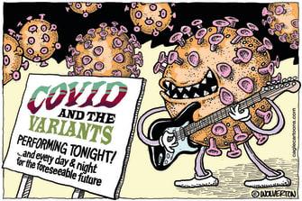Editorial Cartoon U.S. covid variants