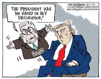 Political Cartoon U.S. Trump William Barr DOJ puppet actions control