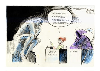 Editorial Cartoon U.S. covid vaccine the thinker