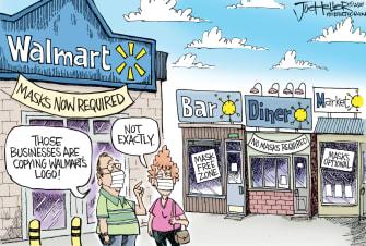 Editorial Cartoon U.S. Walmart masks coronavirus