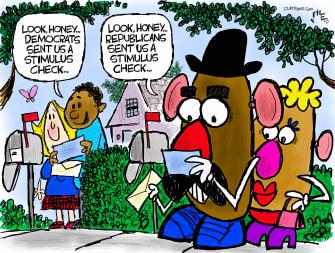 Political Cartoon U.S. democrats gop covid stimulus potato head