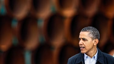 President Obama speaks at the southern site of the Keystone pipeline in 2012.