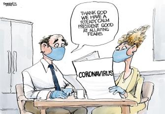 Political Cartoon U.S. Trump Coronavirus American public fear presidential
