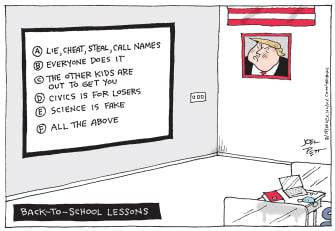 Political Cartoon U.S. Trump school lessons covid