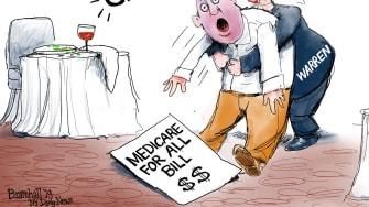 Political Cartoon U.S. Warren Choke On Medicare-For-All Bill
