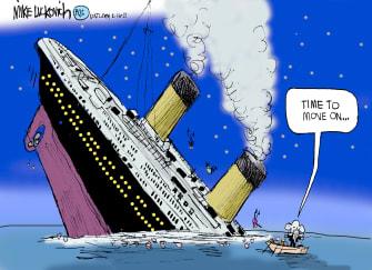 Political Cartoon U.S. trump gop titanic